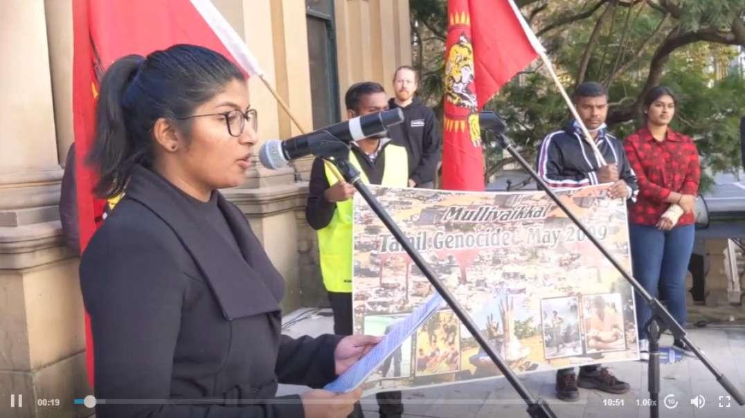 Renuga Inpakumar speaks at the Tamil Genocide Day Rally in Sydney.